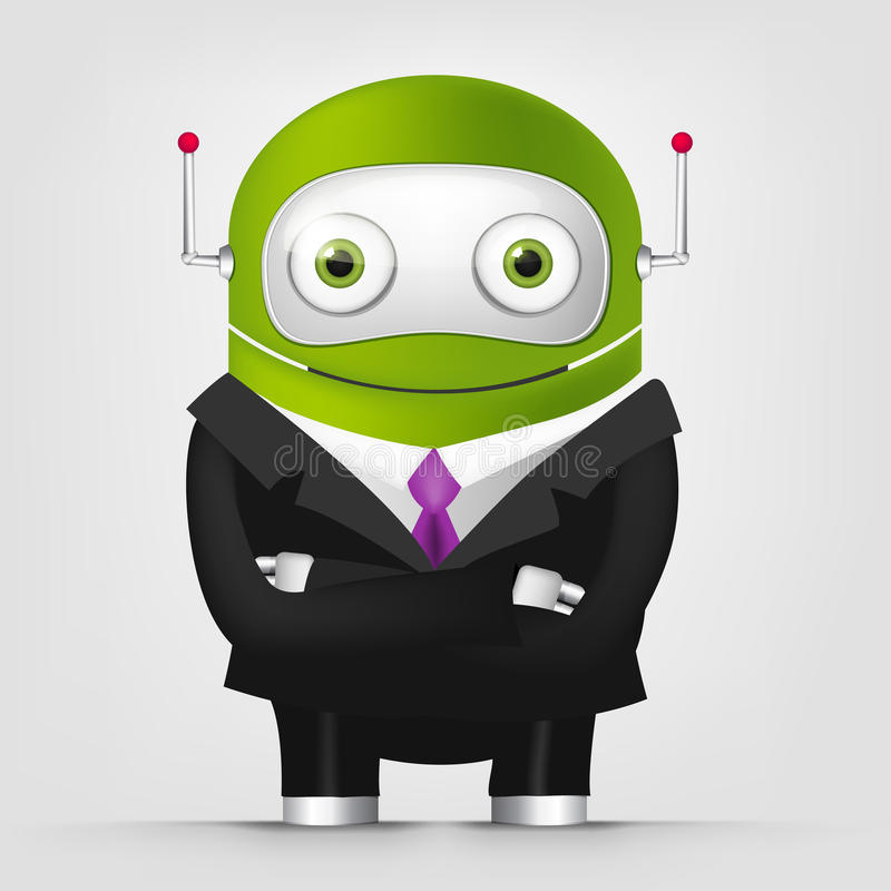 Cute Robot. Cartoon Character Cute Robot Isolated on Grey Gradient Background. Businessmen Cross Hands. Vector EPS 10 stock illustration