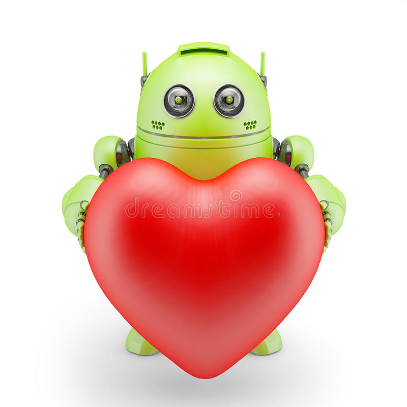 Cute robot with big red heart vector illustration