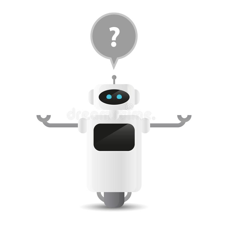 Cute robot character has a question stock illustration