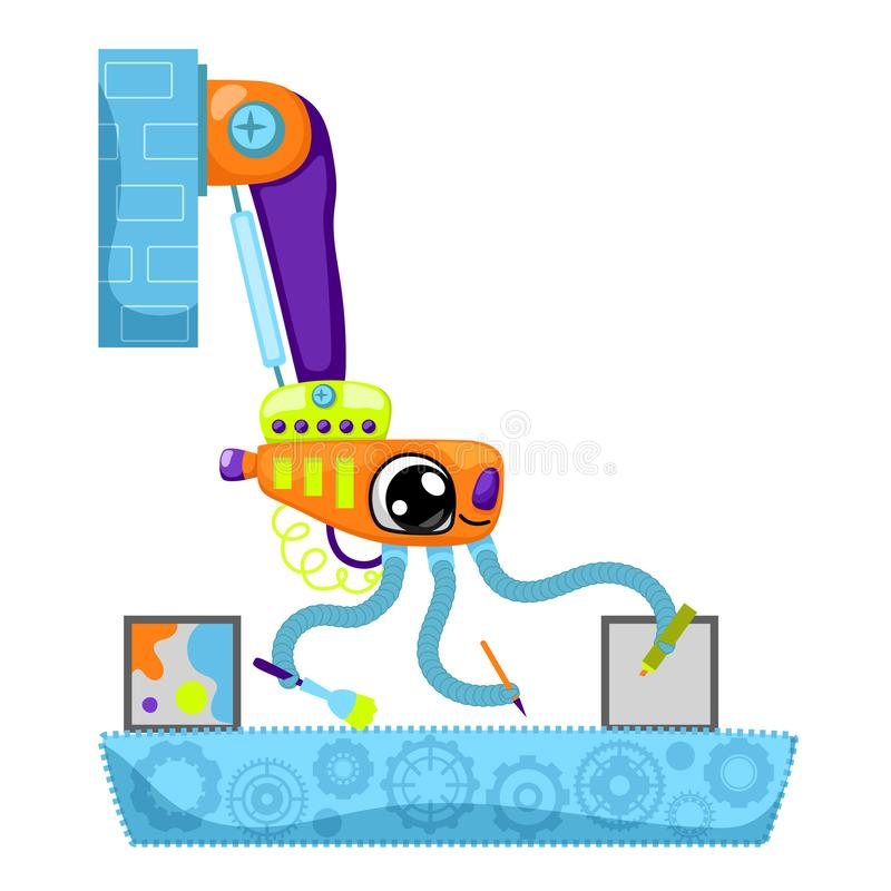 Cute robot character vector illustration on white background. Automatic machine drawing on conveyor belt stock illustration