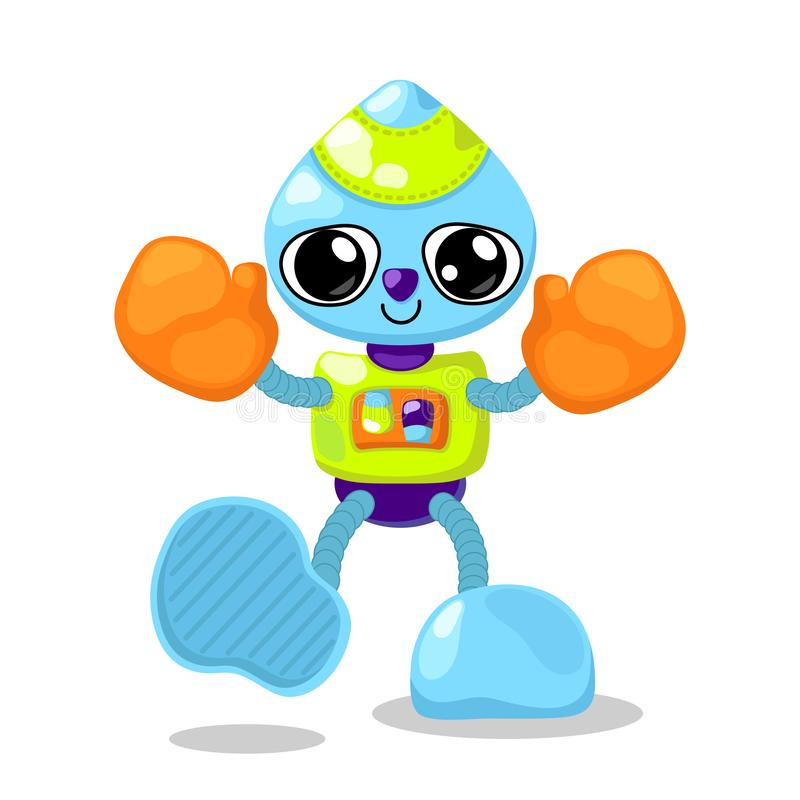 Cute robot character vector illustration on white background. Robot boxer with orange boxing gloves. Cute robot icon royalty free illustration