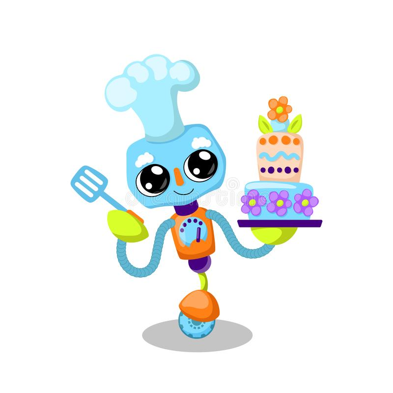 Cute robot character vector illustration on white background. Cooking cake with modern technology. Robot baker royalty free illustration