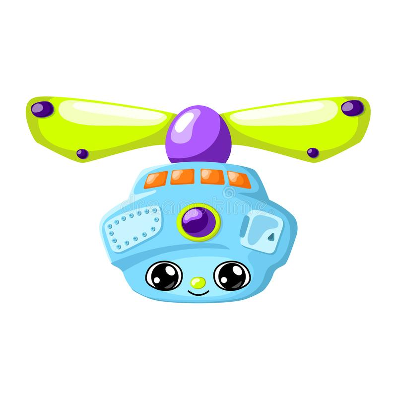 Cute robot character vector illustration on white background. Flying machine with propeller and camera Robot drone stock illustration