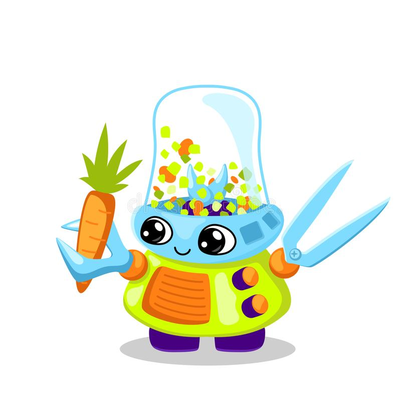 Cute robot character vector illustration on white background. Vegetable cutting cooking machine. Robot chief royalty free illustration