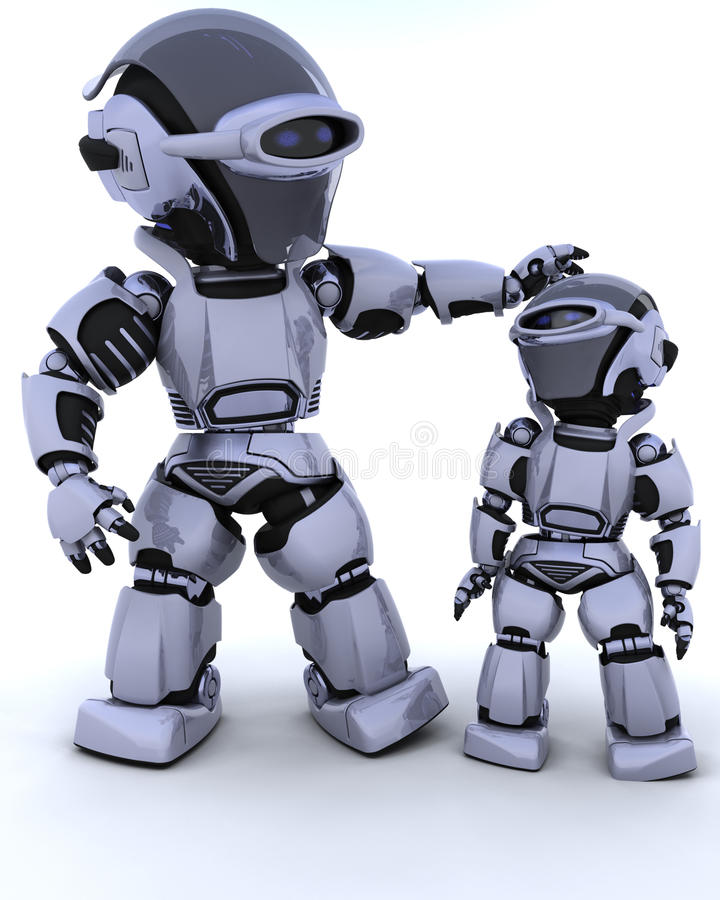 Free Cute Robot Cyborg With Child Stock Image - 13221001