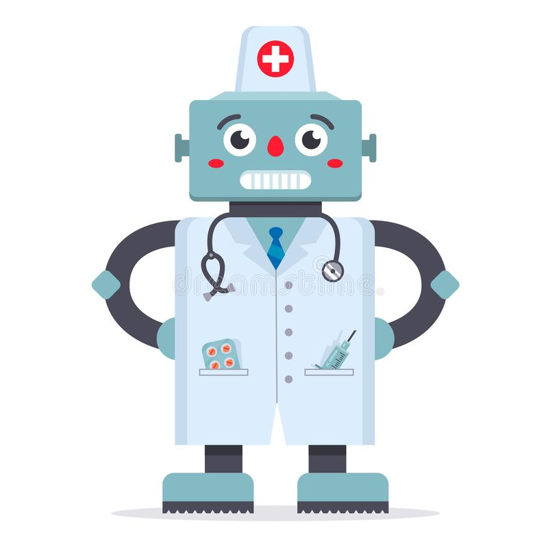Cute robot doctor in a white coat. a game of medicine. technologies of the future. hospital treatment. vector illustration