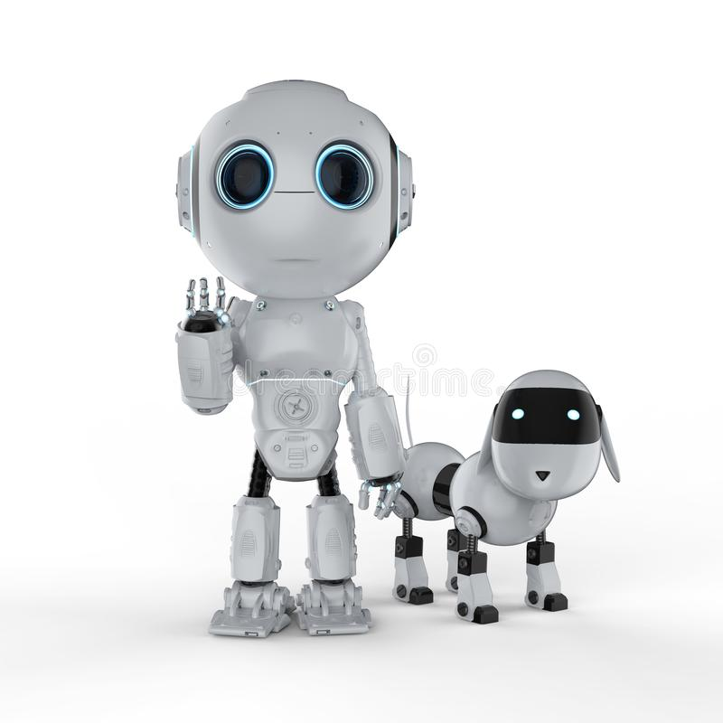 Cute robot with dog stock illustration