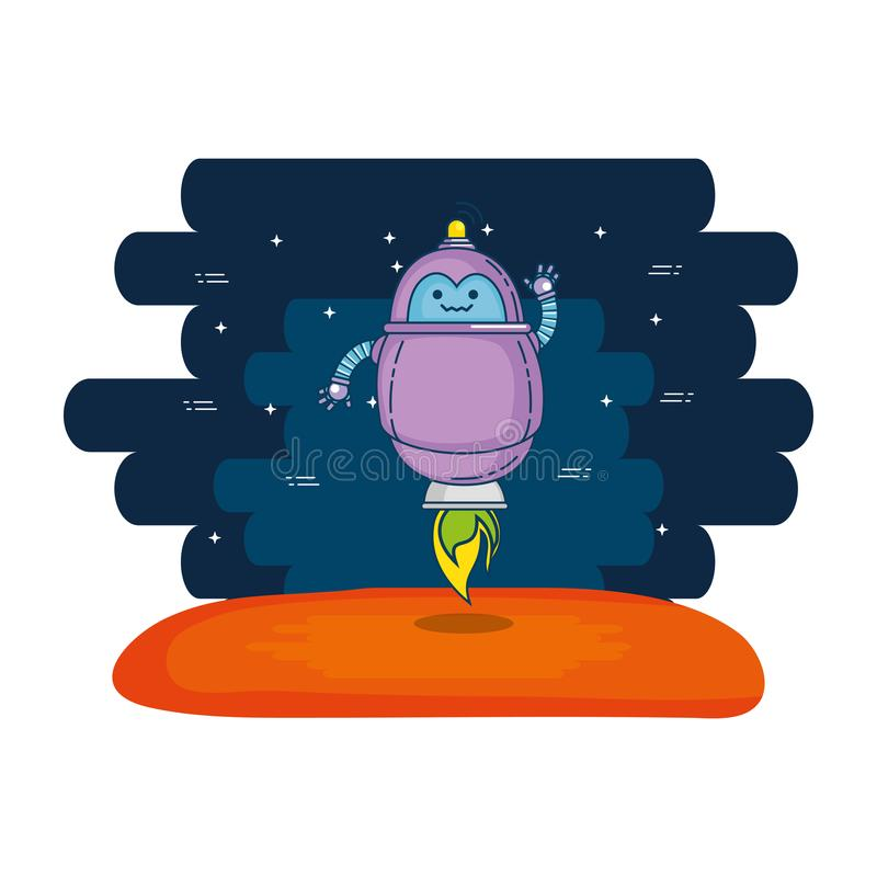 Cute robot electronic with universe background stock illustration