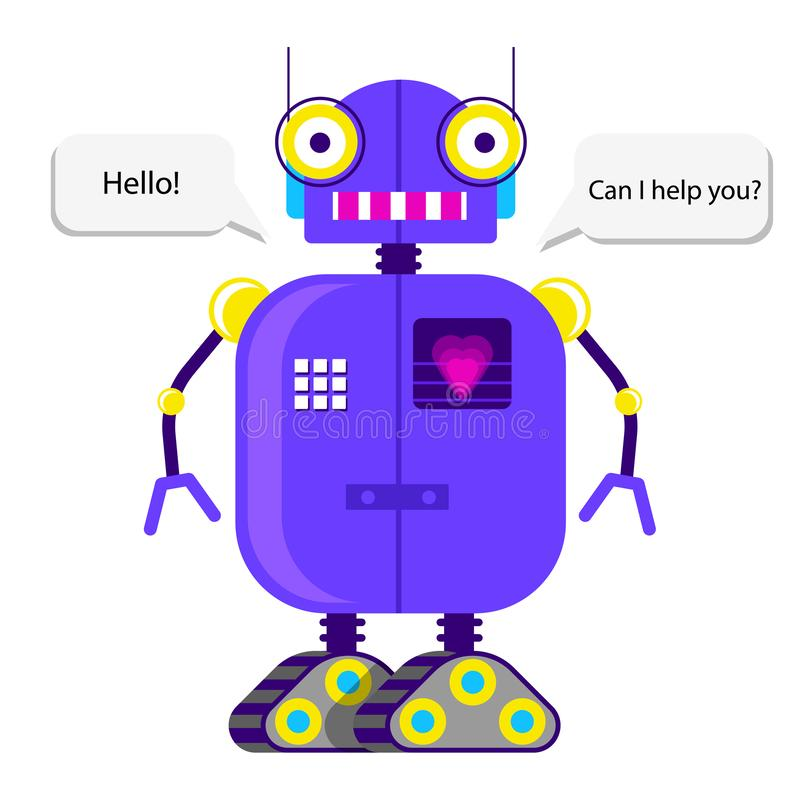 Robot in flat style. Cute robot in flat style on white background.Vector illustration stock illustration