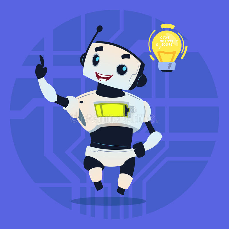 Cute Robot Happy Smiling Having New Idea Modern Artificial Intelligence Technology Concept royalty free illustration
