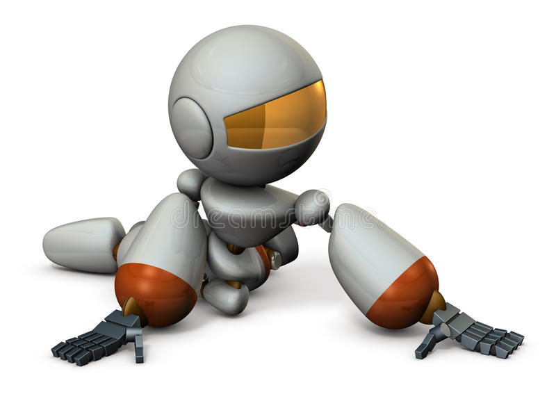 Cute robot has to surrender. 3D illustration vector illustration