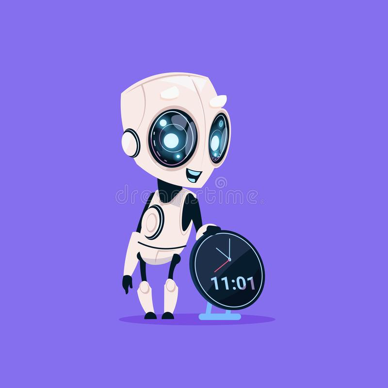 Cute Robot Hold Clock Reminder Isolated Icon On Blue Background Modern Technology Artificial Intelligence Concept. Flat Vector Illustration vector illustration