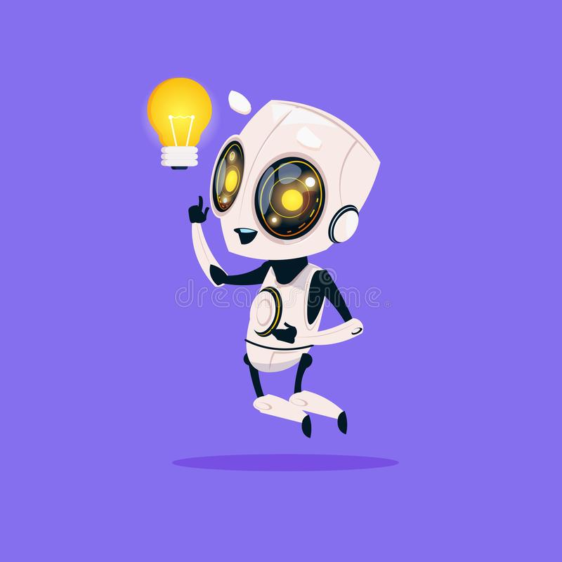 Cute Robot Hold Light Bulb Isolated Icon On Blue Background Modern Technology Artificial Intelligence Concept. Flat Vector Illustration royalty free illustration