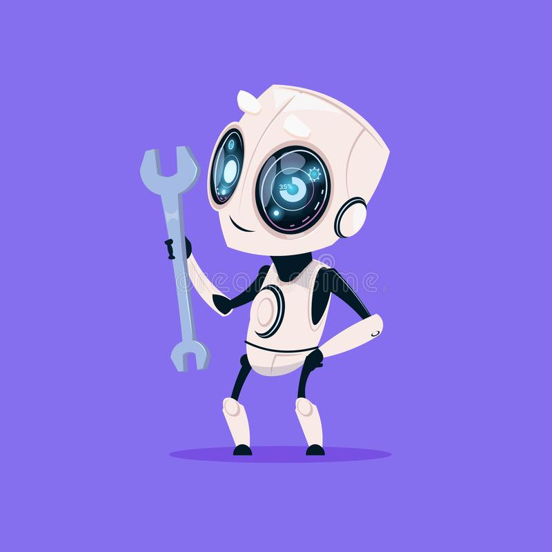 Cute Robot Hold Wrench Isolated Icon On Blue Background Modern Technology Artificial Intelligence Concept. Flat Vector Illustration stock illustration
