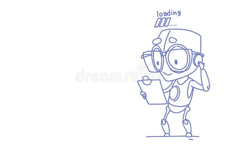 Cute robot holding clipboard loading process modern technology artificial intelligence concept sketch doodle horizontal. Vector illustration stock illustration