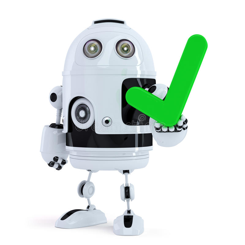 Cute robot holding green check mark. Isolated. Contains clipping path vector illustration