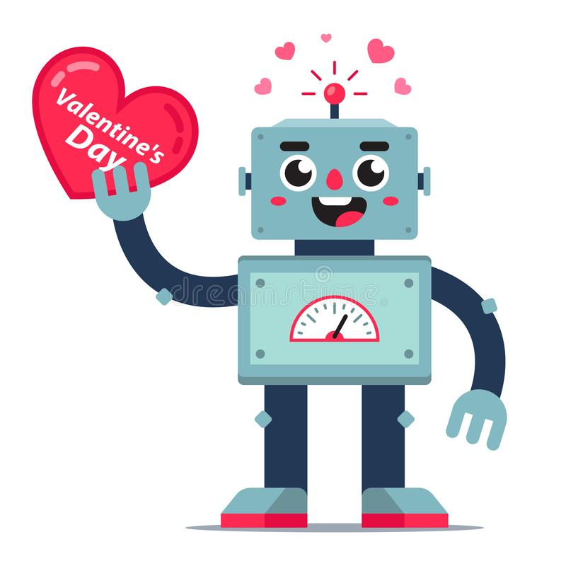Cute robot holds a heart in his hand. card for valentines day. Flat vector character stock illustration