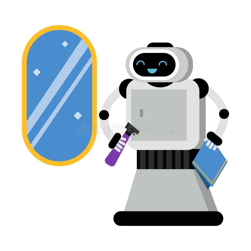 Free Cute Robot Home Assistant Near A Brilliant Mirror. Vector Illustration. Royalty Free Stock Photography - 162940537