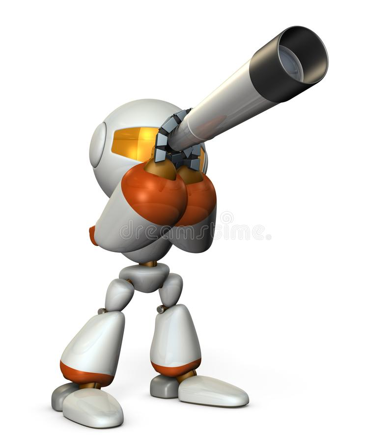 A cute robot looking into the telescope. It foresees the future. stock illustration