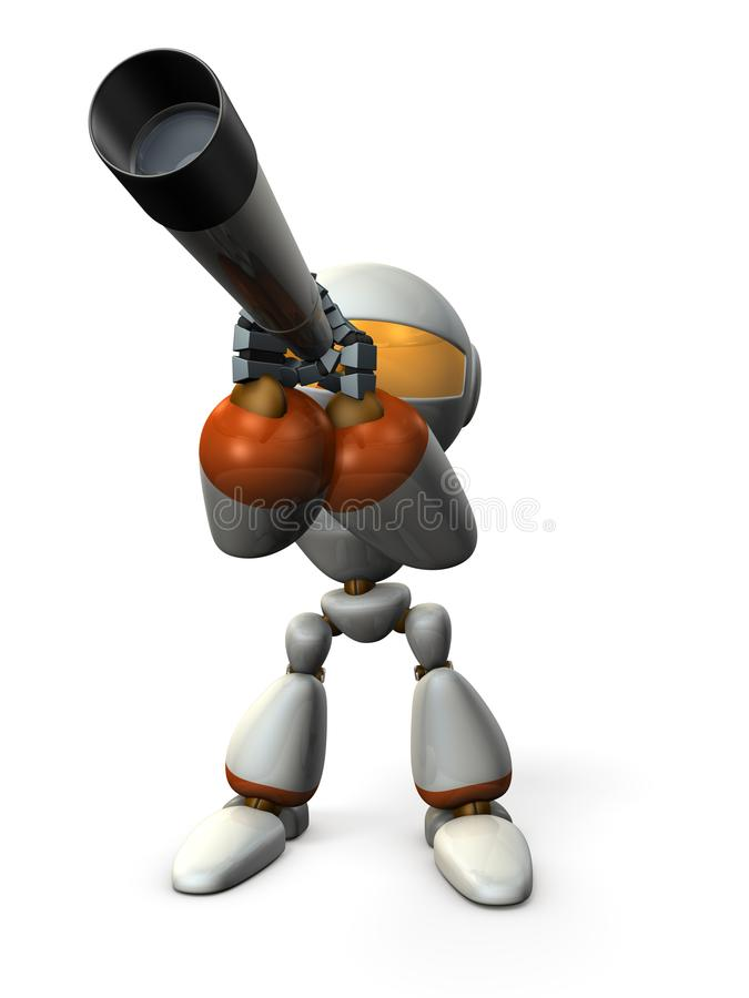 Cute robot looking into the telescope. It foresees the future. 3D illustration. stock illustration
