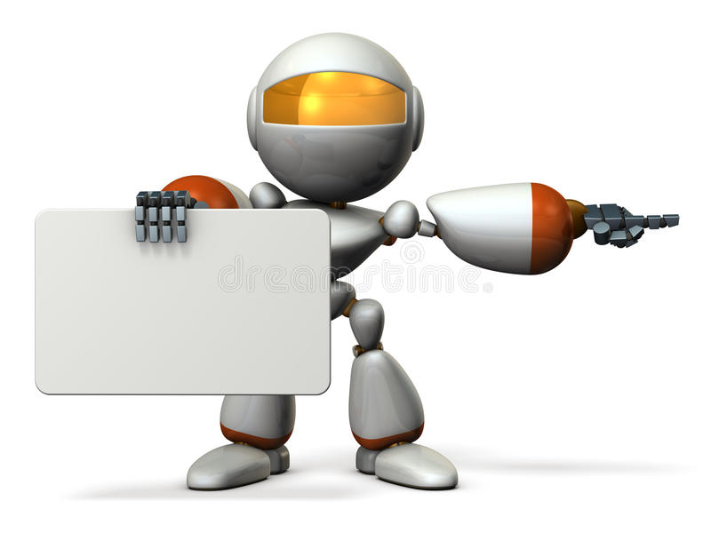 Cute robot with message boards, is pointing. royalty free illustration
