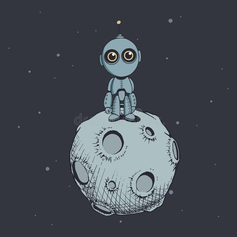 Cute robot on the moon royalty free illustration