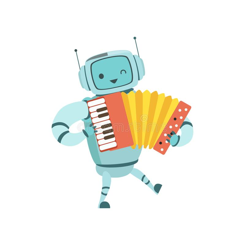 Cute Robot Musician Playing Accordion Musical Instrument Vector Illustration. On White Background vector illustration