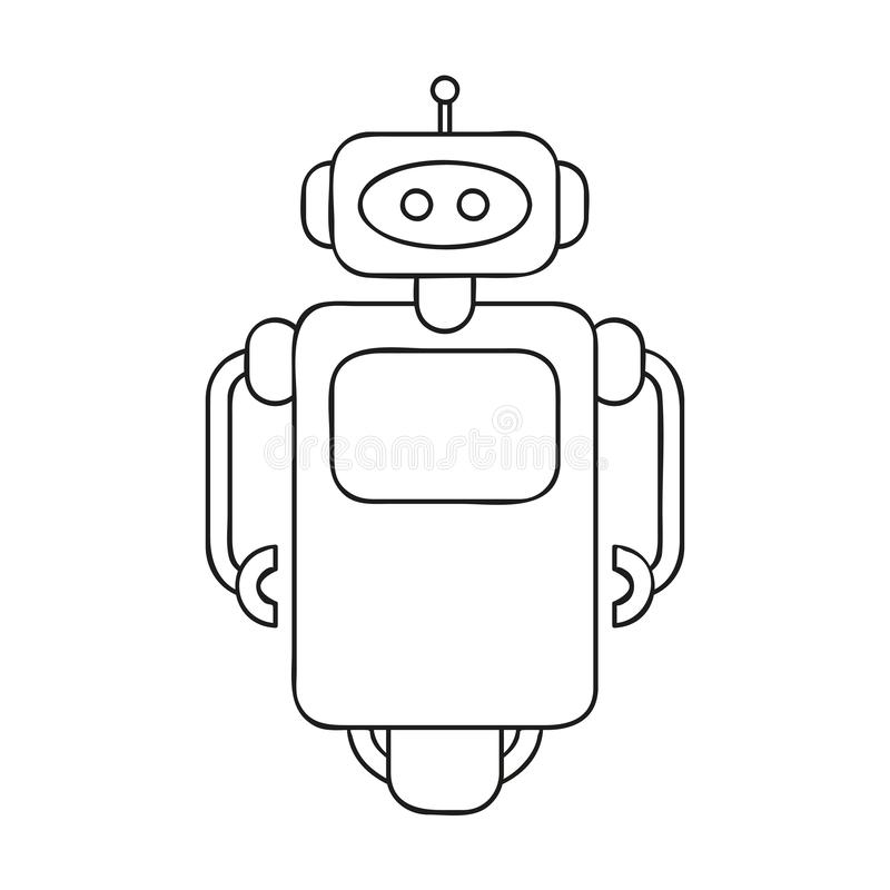 Cute robot outline drawing for coloring book. Vector illustration EPS10 royalty free illustration