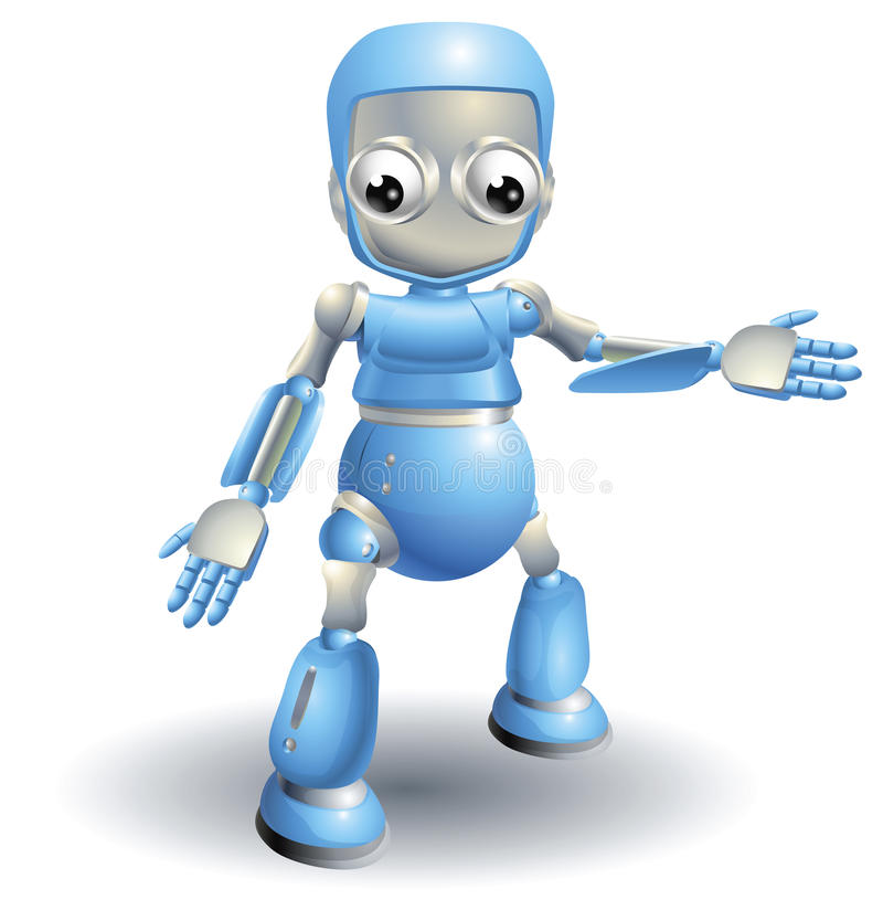 Cute robot pointing out something vector illustration