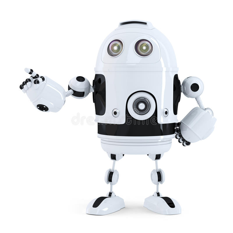 Cute robot pointing on something royalty free illustration