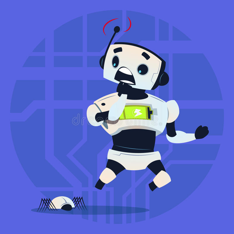 Cute Robot Scared Modern Artificial Intelligence Technology Concept royalty free illustration