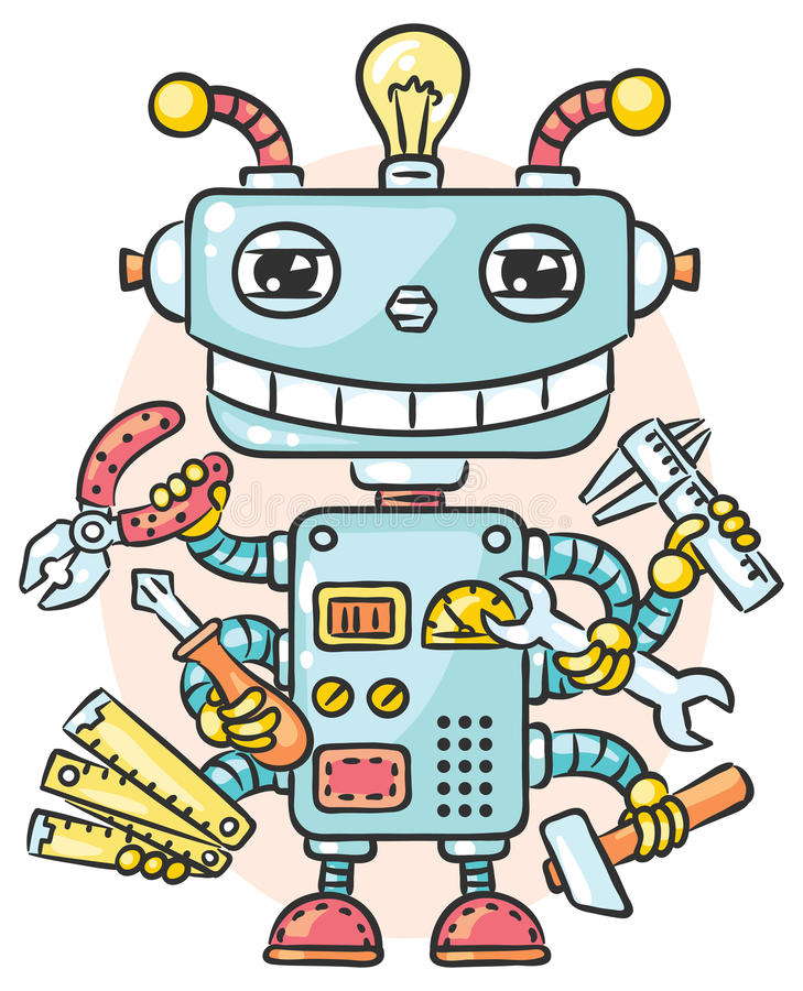 Cute robot with six hands holding different working tools vector illustration