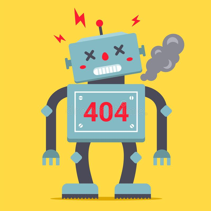 A cute robot is standing tall. It is broken and smoking. royalty free illustration