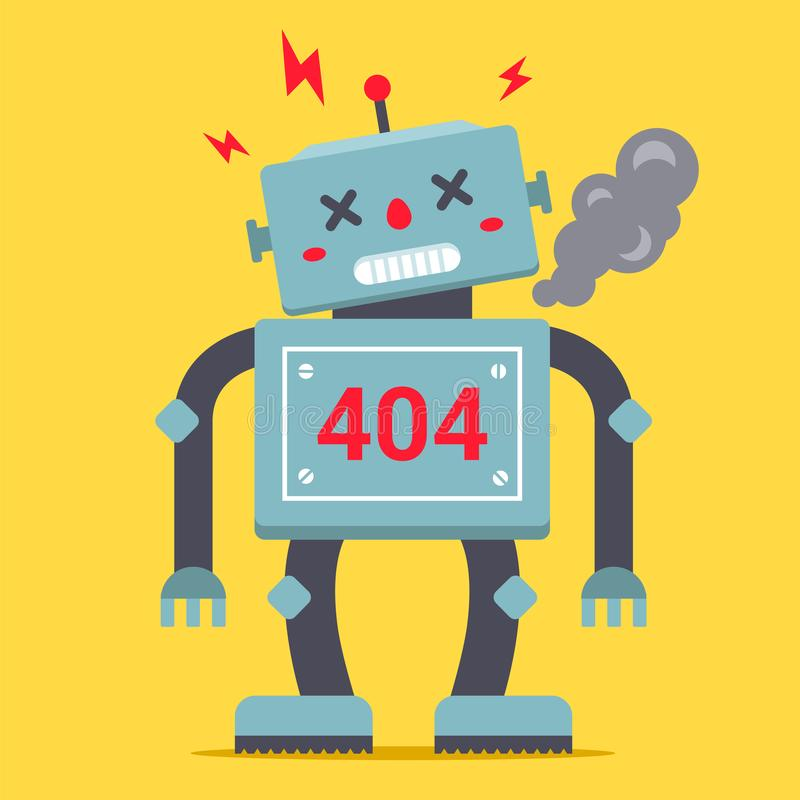 A cute robot is standing tall. It is broken and smoking. Error 404 for internet site. vector illustration