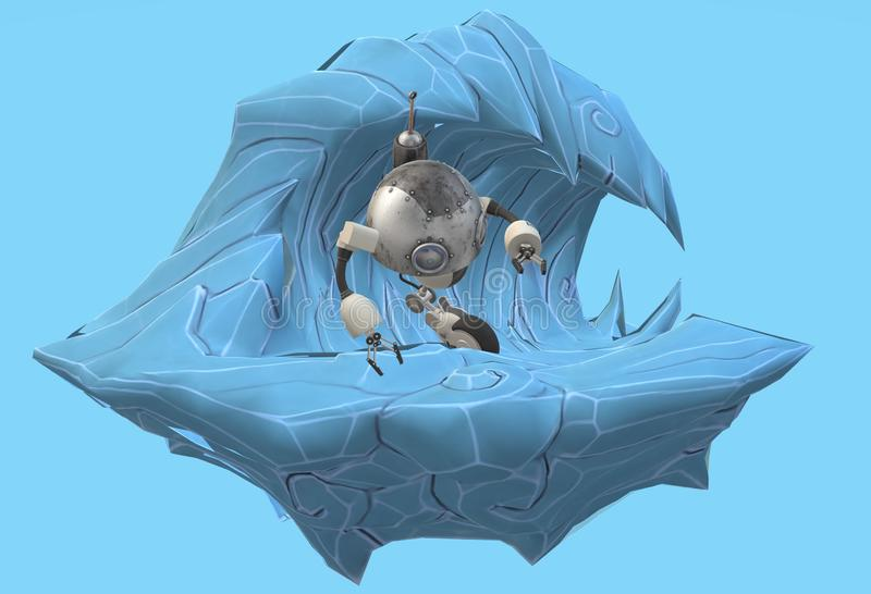 A cute robot surfing on a huge tidal wave at sea royalty free illustration