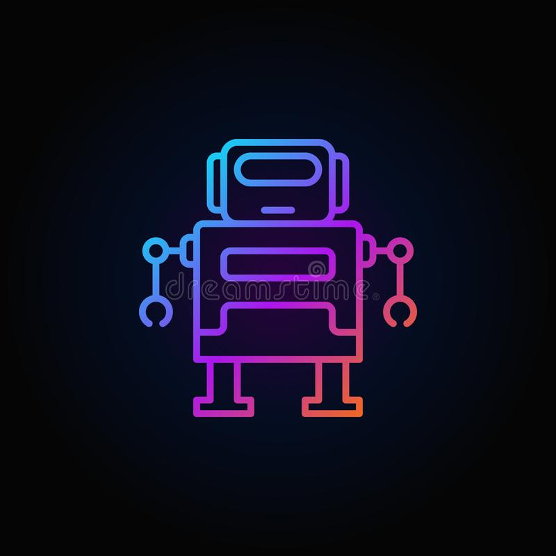 Cute robot vector colorful icon or logo in thin line style stock illustration