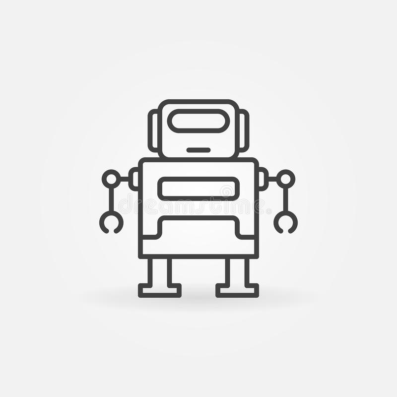 Cute robot vector icon in thin line style stock illustration