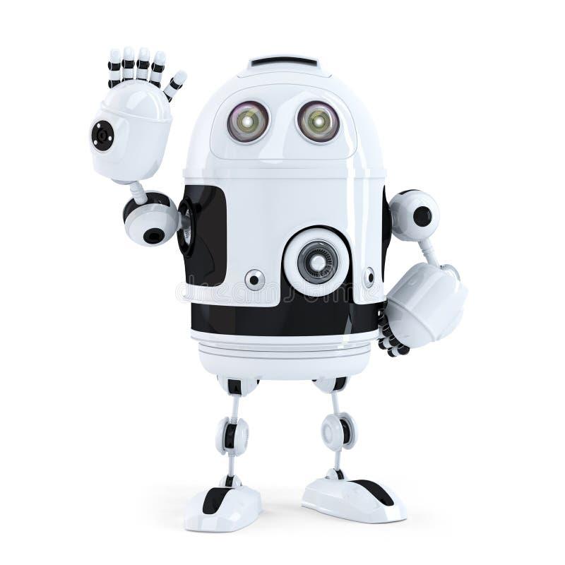 Cute robot waving hello royalty free illustration