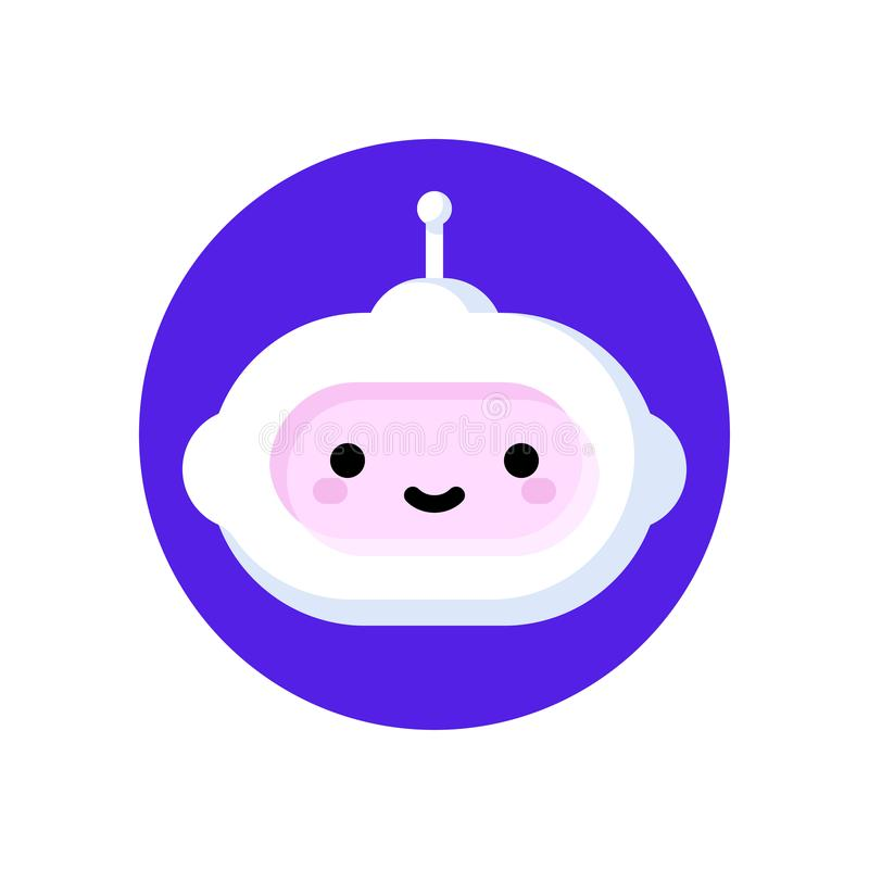 Cute robot which symbolizes online chatbot or voice support service bot for artificial intelligence or virtual assistant concept royalty free illustration