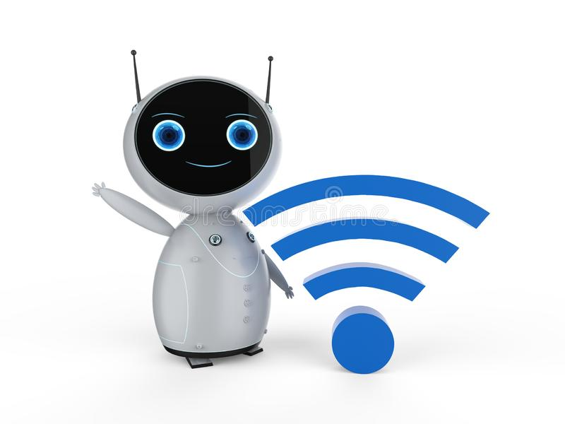 Cute robot with wi-fi sign royalty free illustration