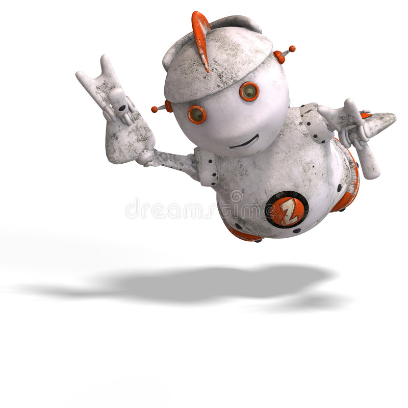Download Cute Roboter With Lot Of Emotion Stock Illustration - Illustration of cyborg, green: 8265764