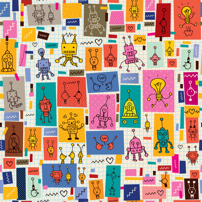 Cute robots collage cartoon retro doodle pattern stock illustration