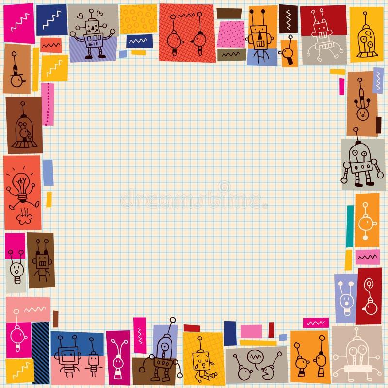 Cute robots collage doodle border vector illustration