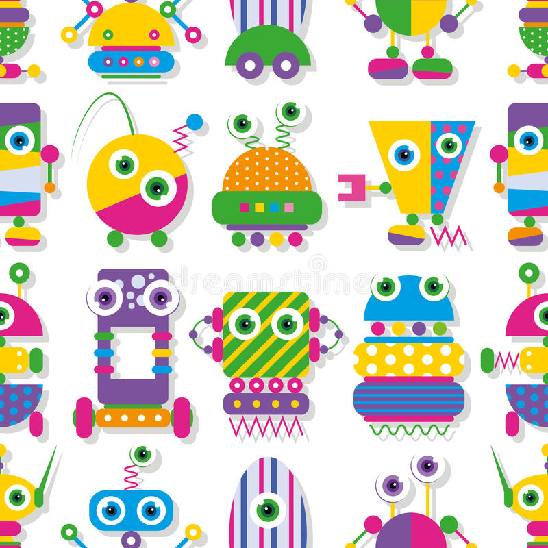Cute robots collection pattern. Illustration of colorful big-eyed robots on white background stock illustration