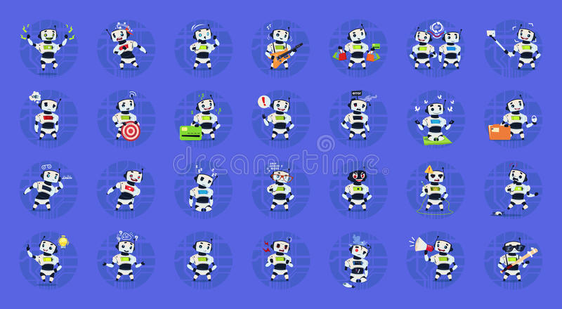 Cute Robots Set Modern Artificial Intelligence Technology Different Cyborg Collection Concept stock illustration