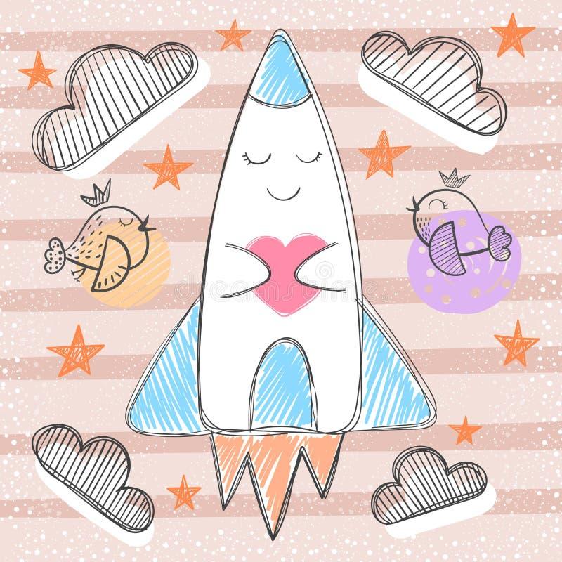 Cute rocket - cartoon baby illustration. vector illustration