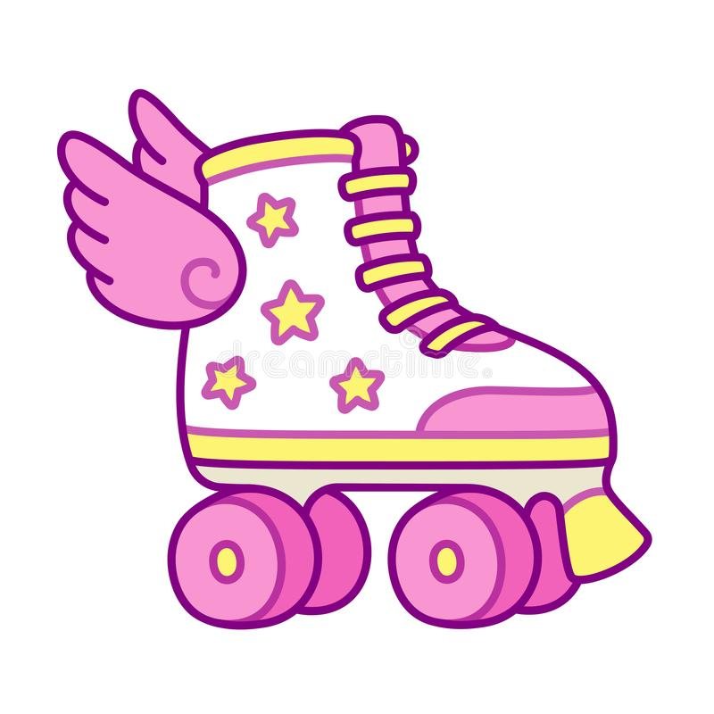 Cute roller skates with wings. Cute pink girly roller skates with stars and wings. Retro quad rollers cartoon vector illustration royalty free illustration