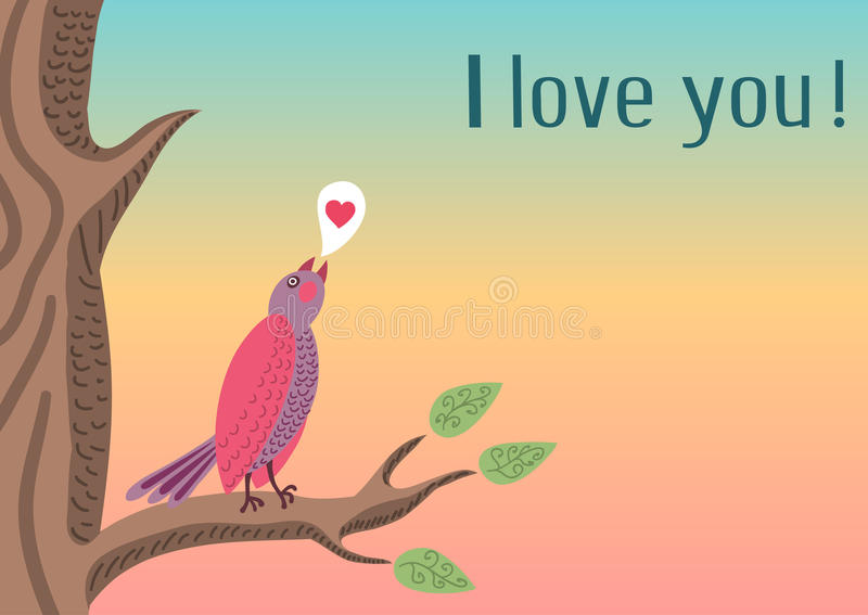 Cute romantic background with bird vector illustration