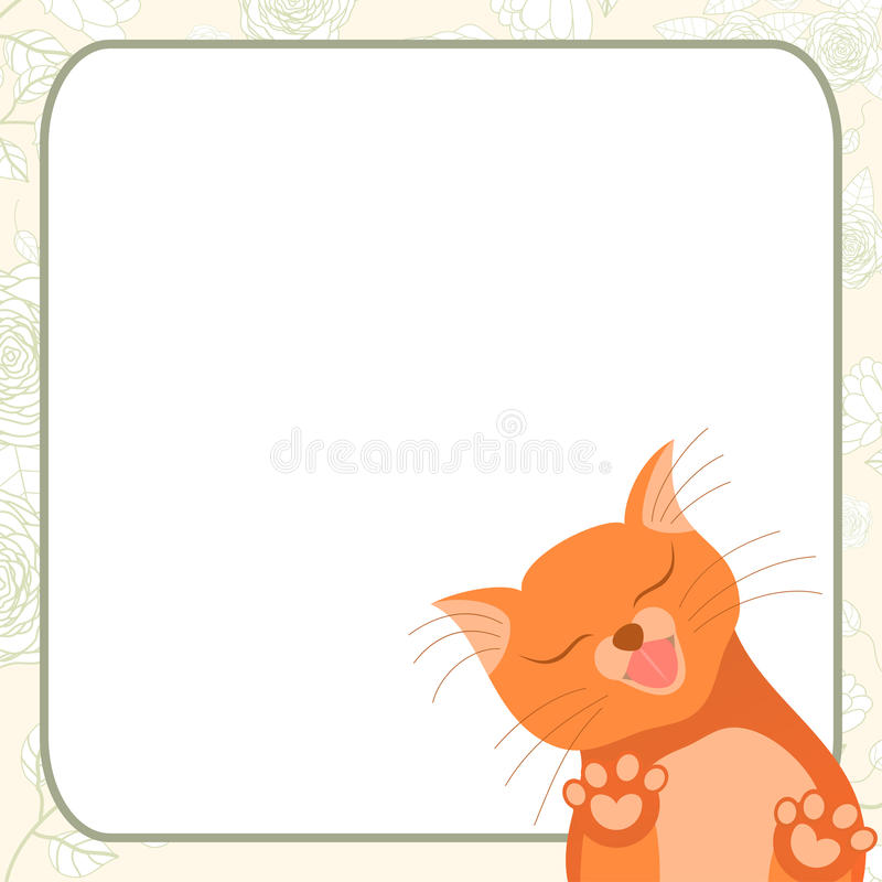 Cute romantic card with tender cat who kisses you stock illustration