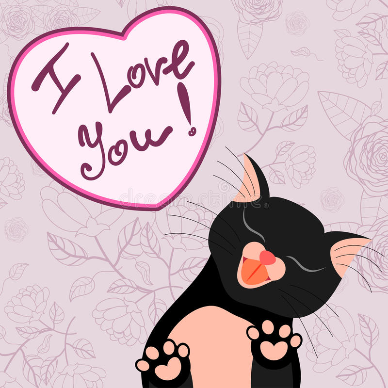Cute romantic card with tender cat who kisses you royalty free illustration